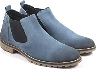 Freacksters Suede Leather Canvas Sneakers Chelsea Boots for Men (Blue)