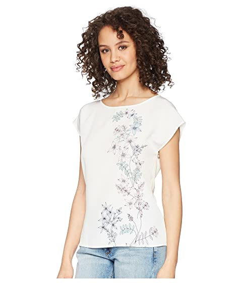 Vince Camuto Extend Shoulder Botanical Floral Print Blouse New Ivory Free Shipping Excellent dhOhV2SJbo