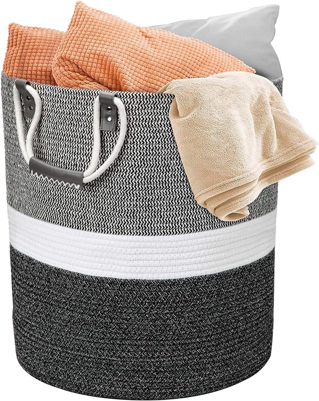 Cesta grande para la colada, de algodón trenzado, con asa, color blanco con costuras negras, 43 x 48 cm, para mantas, cojines, juguetes, sala de estar, habitación de los niños, baño