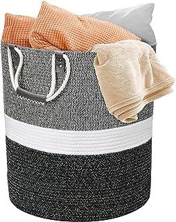 Grand panier à linge tressé en corde de coton avec poignée, blanc avec coutures noires, 43 x 48 cm pour couvertures, couss...