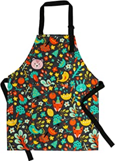 Kids Aprons Pure Cotton Canvas Children Artists Aprons with Adjustable Neck Strap and Pocket Cute Child Chef Aprons for Boys and Girls Cooking Baking Painting Aprons in 2 Sizes (Black 1, L)