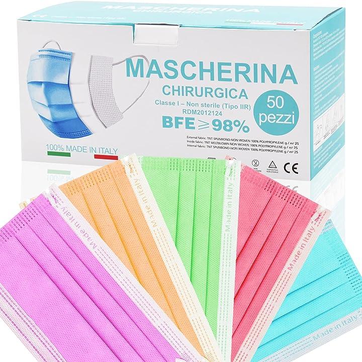 Mascherine certificate colorate monouso made in italy confezione da 50 pezzi (a-multicolore m13) FG-88
