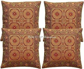 DK Homewares Indien Ethnique Housse De Coussin De Canapé 16 X 16 Pouces Brocart Bordeaux Taie d'oreiller 40 Cm Décoration ...
