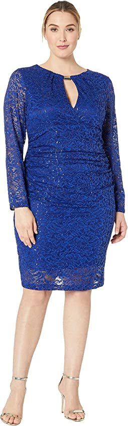 Plus Size Empire Waist and Shirring Long Sleeve Dress with Gold Bar Keyhole