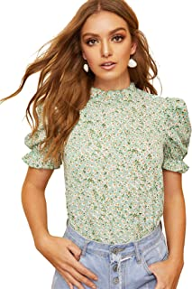Women's Floral Print Ruffle Puff Short Sleeve Casual Blouse Tops