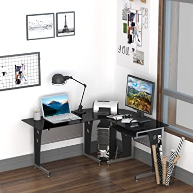 HOMCOM L-Shaped Corner Computer Desk Gaming Table Home Office Workstation Glass Top P2 MDF with Keyboard Tray - Black