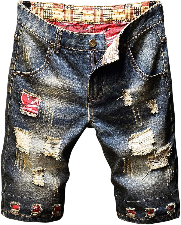 Aeneontrue Men's Denim Shorts Ripped Applique Vintage Casual Slim Jeans Short Pants for Summer Size28-40