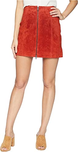 Red Suede Zippered Mini Skirt in Redwood