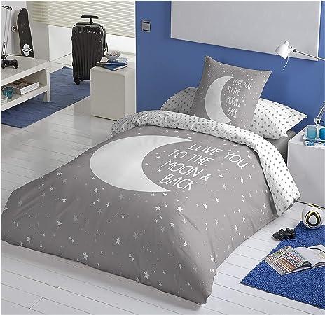 COTTON ARTean Funda Nordica Reversible Moon Grey Cama de 105 ALGODÓN 100%: Amazon.es: Hogar