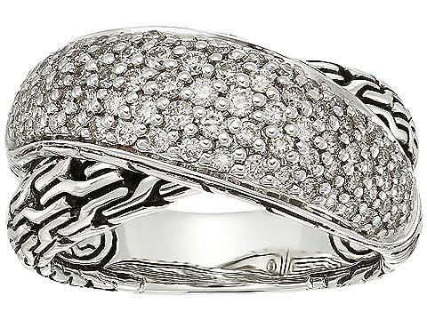 John Hardy Classic Chain Arch Diamond Pave Overlap Ring