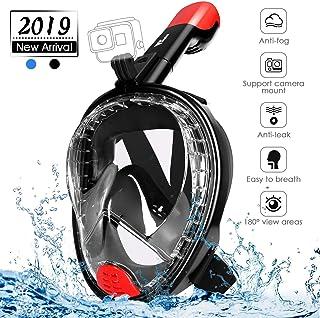 amzdeal Máscara de Buceo, Máscara de Snorkel Adjustable de Cara Completa 180° Visible Máscara Esnorquel de Cámara Deportiva Anti-Vaho y Anti-Fuga