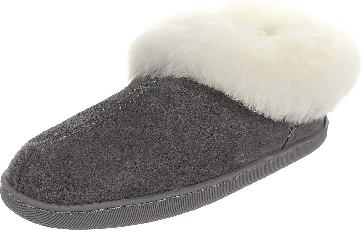 Vogar Womens Leather Furry Slippers VG-26 Sheep Wool Lined