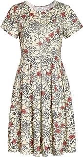 Weintee Women's Short Sleeves Jersey Pleated Dress with Pockets