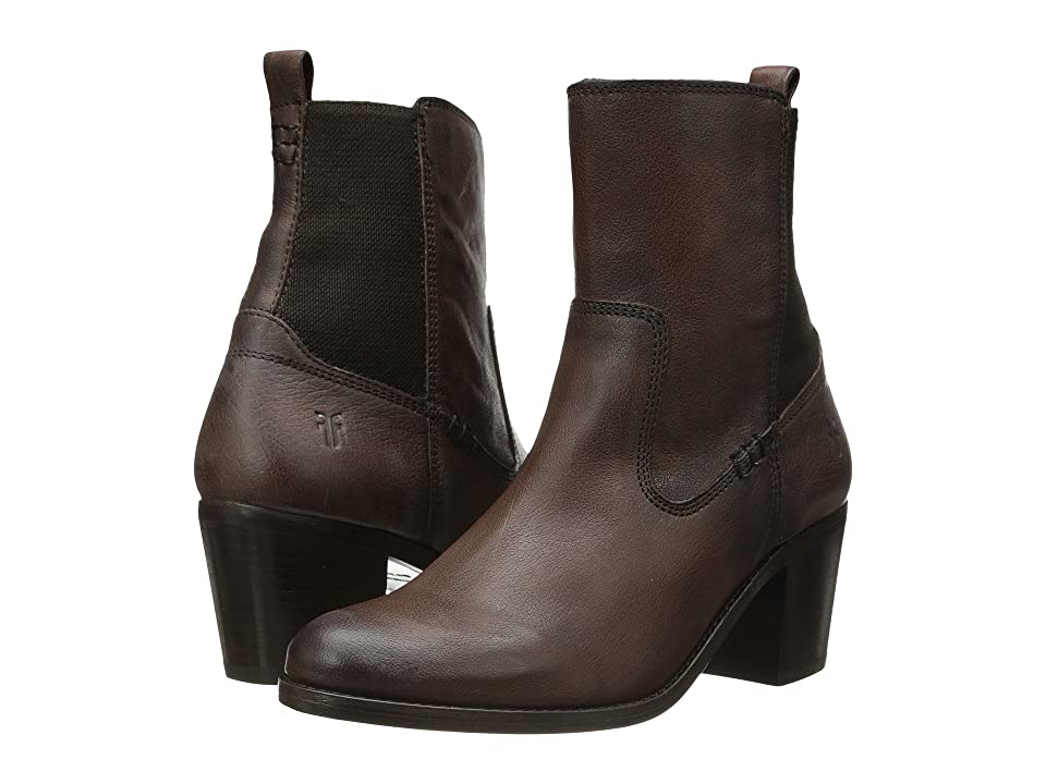Frye Janis Gore Short (Dark Brown Buffalo Leather) Cowboy Boots
