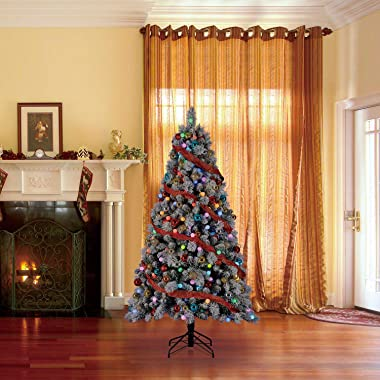 Home Heritage Cascade 7 Foot Flocked Artificial Plastic Christmas Tree with Prelit Color Lights and Stand