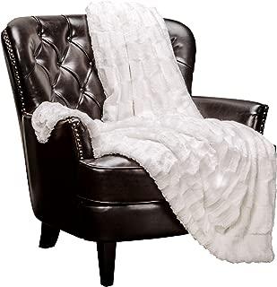 Chanasya Super Soft Fuzzy Faux Fur Elegant Rectangular Embossed Throw Blanket   Fluffy Plush Sherpa Cozy Microfiber Off White Blanket for Bed Couch Living Room Fall Winter Spring (50x65) - White