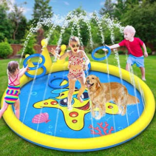 GiftInTheBox Splash Pad Sprinkler for Kids, 68 Inch Splash Pad Toys for Dogs, Inflatable Kids Sprinkler Play Mat with 4 To...