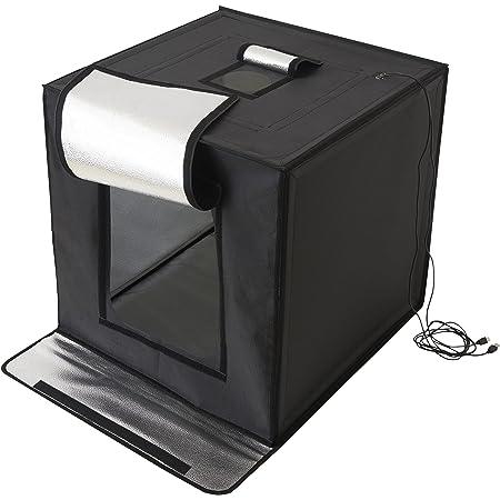 【Amazon.co.jp限定】 ハクバ 撮影ボックス LEDスタジオボックス60 LEDライト 64×62×63cm 折りたたみ式 背景紙3色付き 大型 AMZLEDSBX60 ブラック