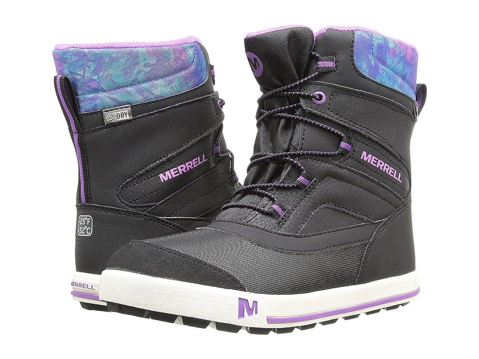 Merrell Kids Snow Bank 2.0 Waterproof (Big Kid) (Black/Print/Berry Leather) Girls Shoes