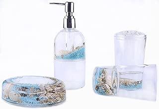 Locco Decor 4 Piece Acrylic Liquid 3D Floating Motion Bathroom Vanity Accessory Set Conch
