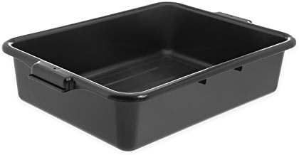 "Carlisle N4401003 Comfort Curve Ergonomic Wash Basin Tote Box, 5"" Deep, Black"