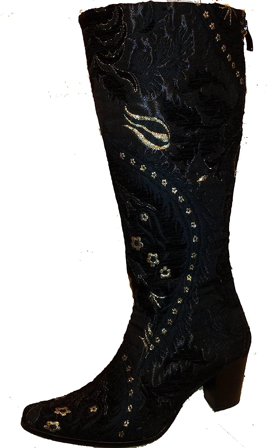 Rockwell Tharp Black Tapestry Print Fashion Boot with Side Zipper