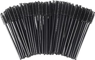 eBoot 300 Pieces Colored Disposable Mascara Wands Eyelash Eye Lash Brush Makeup Applicators Kit (Black Handle, Black Head)