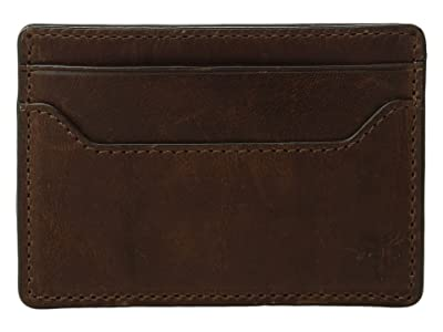 Frye Logan Money Clip Card Case (Dark Brown Antique Pull-Up) Credit card Wallet