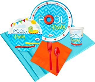 Splashin Pool Party Childrens Birthday Party Supplies - Tableware Party Pack (24)