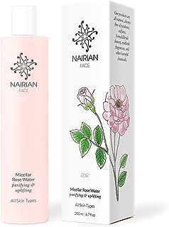 Nairian Micellar 玫瑰水,净化和提升皮肤护理(200 毫升瓶);保湿面部清洁剂 含*成分,不含防腐剂和无转*清洁水