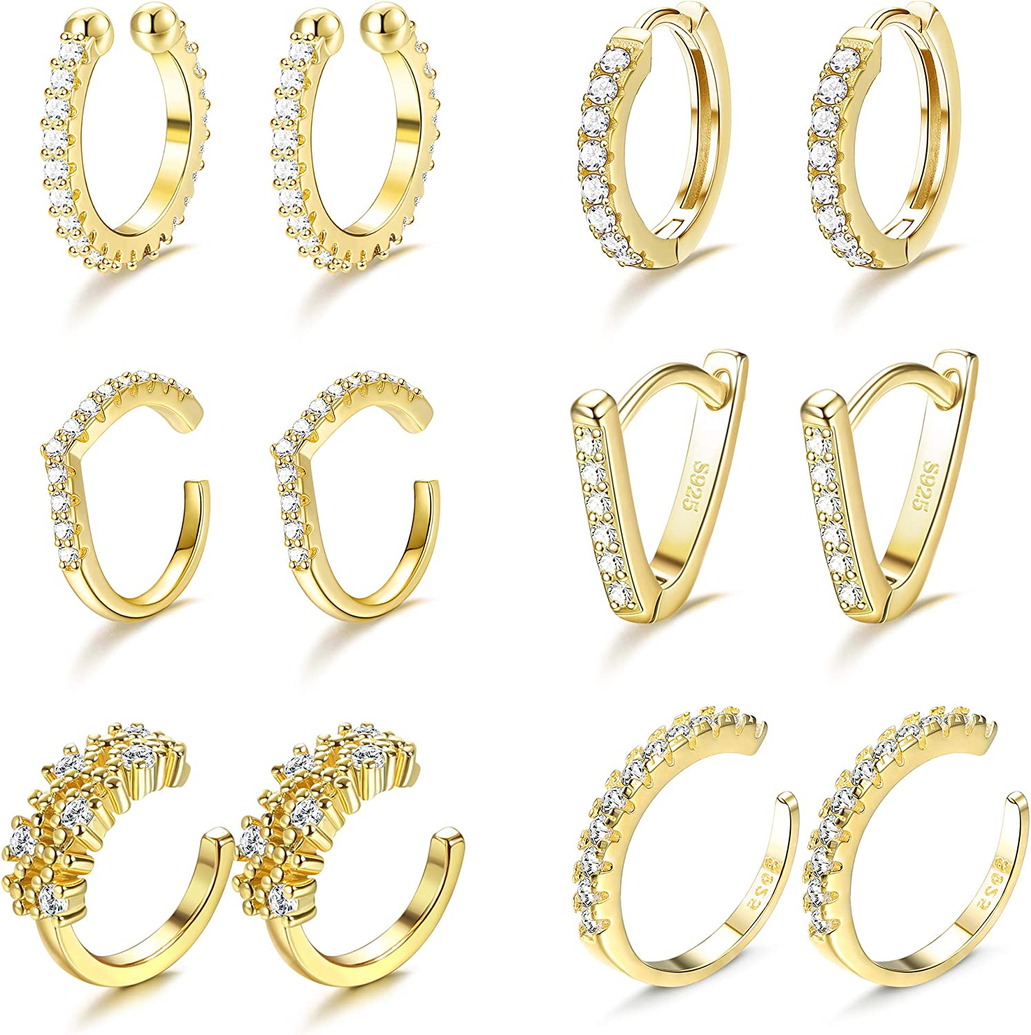 Lowest price challenge LOYALLOOK 14K Gold Cuff Earrings Small for Women Zirconia Cubic OFFicial store