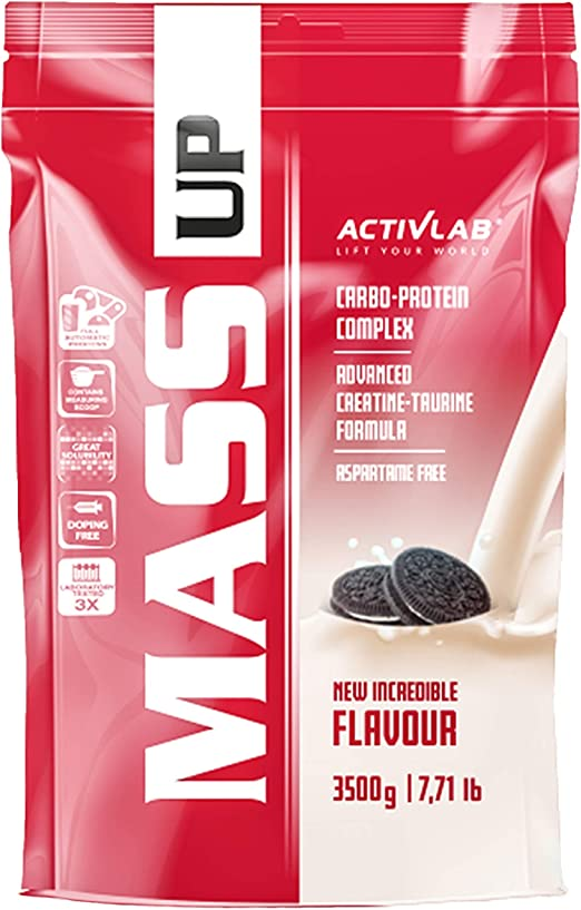 Activlab Mass Gainer - Complejo de proteínas y carbohidratos de suero - Creatina y taurina - Sin aspartamo (Cookies, 5kg)