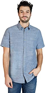 Sponsored Ad - Lee Men's Short Sleeve Slub Stretch Button Up Shirt, Regular Fit