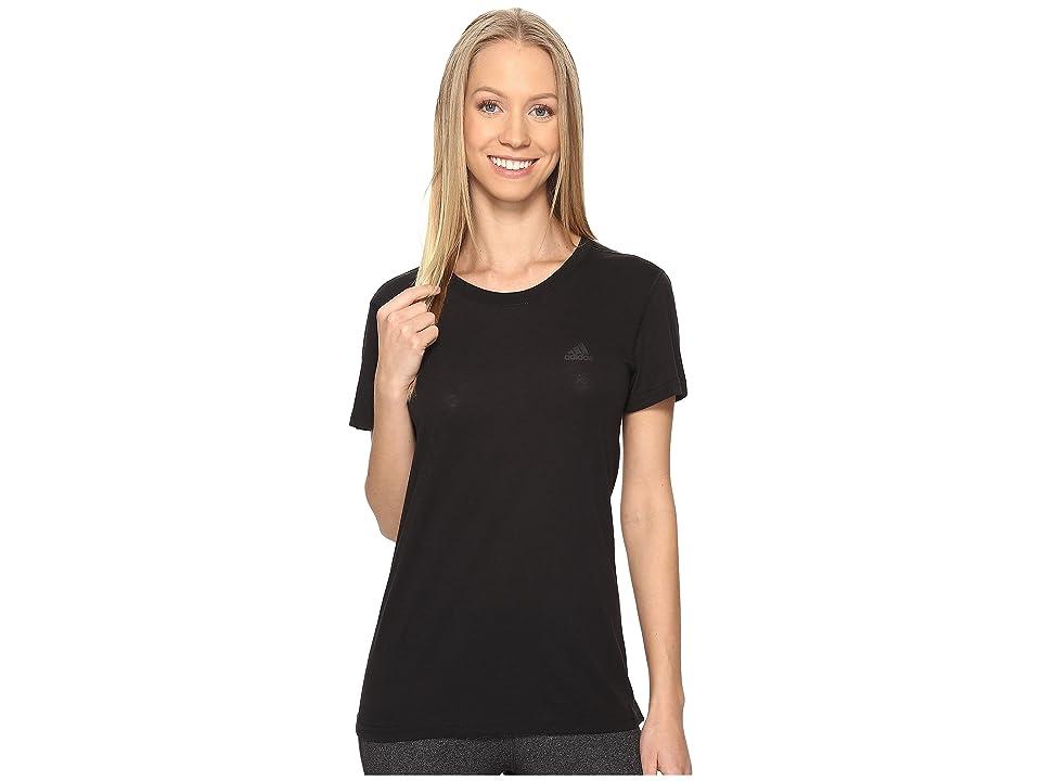 adidas Ultimate Short Sleeve Tee (Black/Black) Women