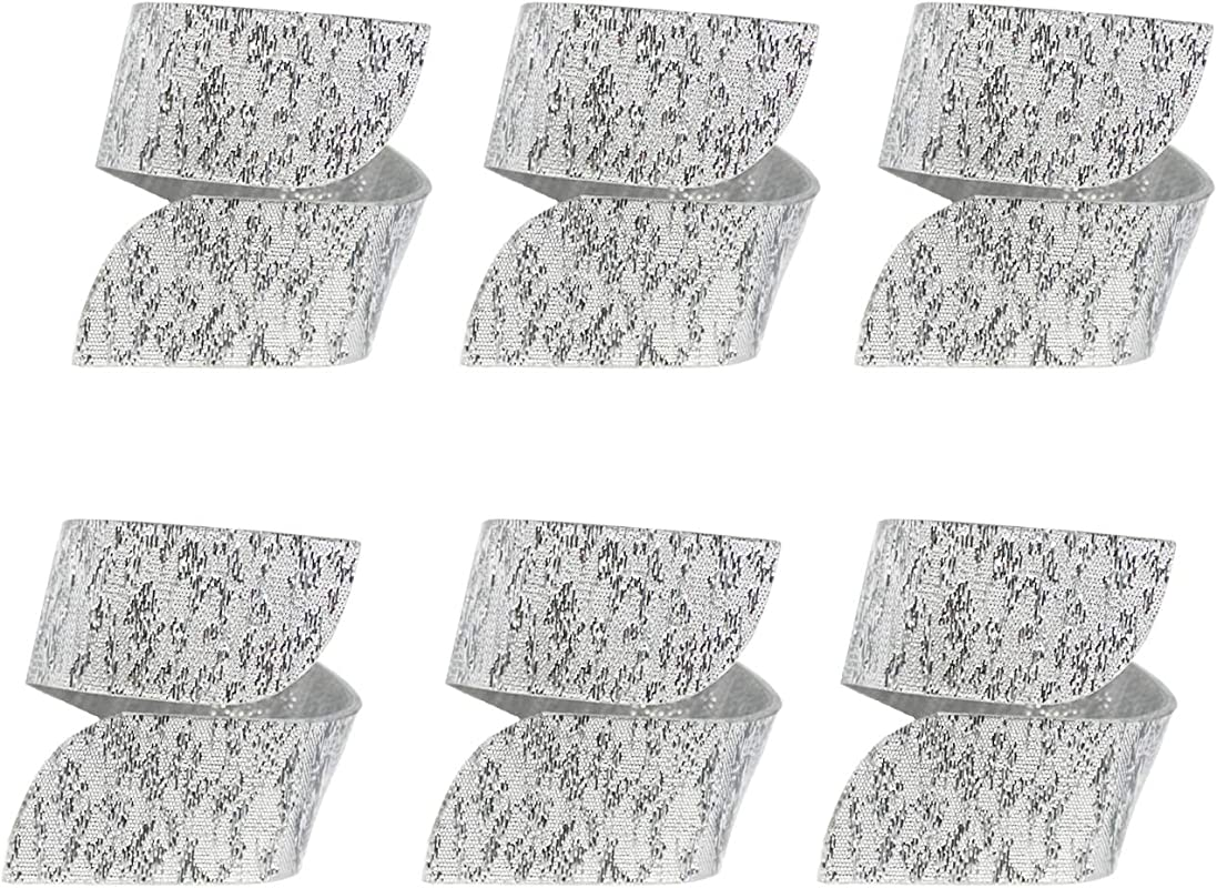 DANXYN Durable Quality Reusable Silver Acrylic Napkin Rings Holder Set Of 6
