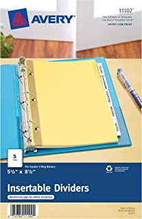 Avery Mini WorkSaver Insertable Tab Dividers, 5.5 x 8.5 inches, 5-Tab Set, 1 Set (11102)