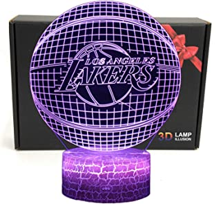 LED NBA Team 3D Optical Illusion Smart 7 Colors Night Light Table Lamp with USB Power Cable (Lakers)
