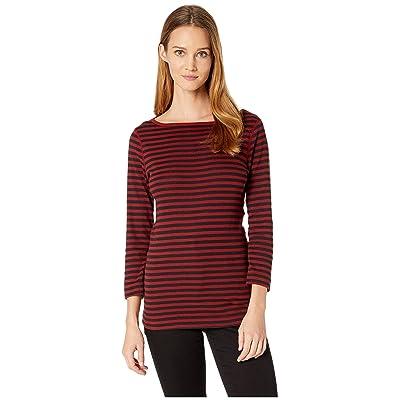 Three Dots 3/4 Sleeve Mykonos Stripe Tee (Chianti) Women