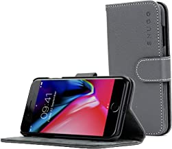 Snugg iPhone 7 Plus and 8 Plus Case Apple iPhone Flip [Card Slots] Leather Wallet Cover Design in Gray, Legacy Range