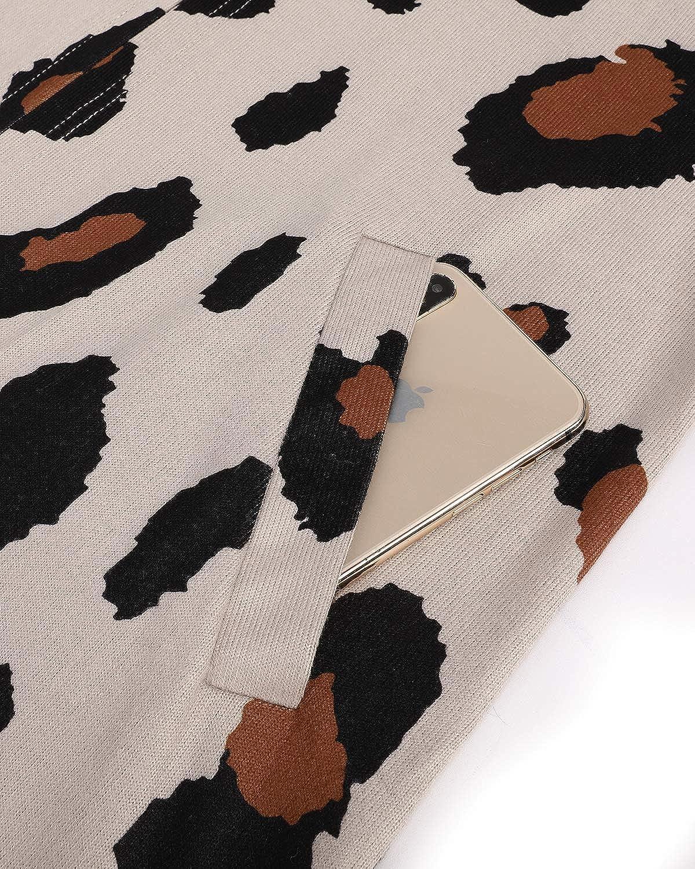 OUGES Damen Boho Colorblock Open Front Cardigan Shirt mit Taschen Langarm Leichter Mantel Leopard05