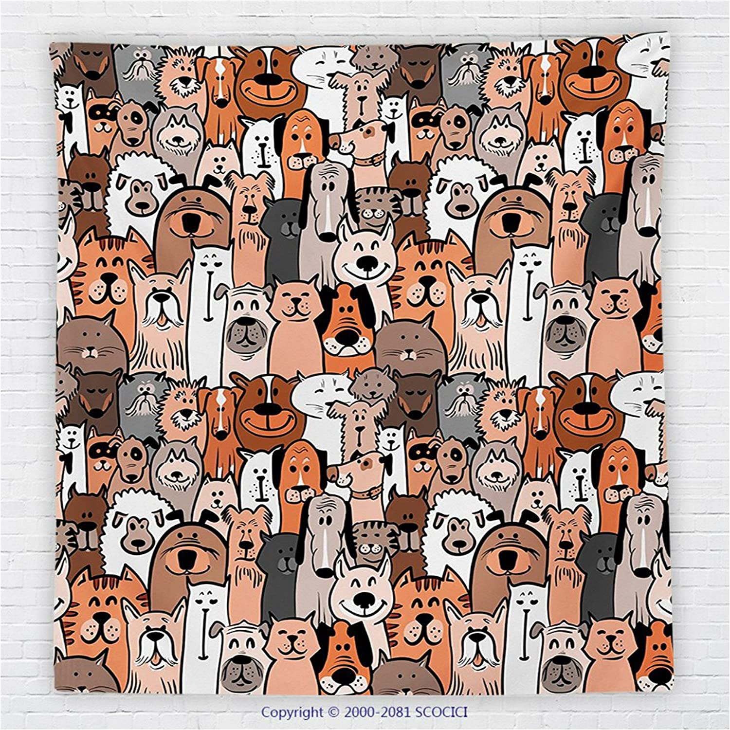 59 x 59 Inches Boys Girls Toddlers Room Decor Fleece Throw Blanket Pattern of Cats and Dogs Doodle Art Cartoon Style Retro Design Blanket Brown Grey
