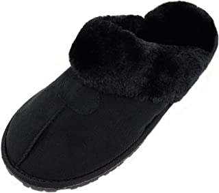 ABSOLUTE FOOTWEAR Womens Soft Thick Faux Fur Mules/Slippers/Indoor Shoes with Thick Fur Trim