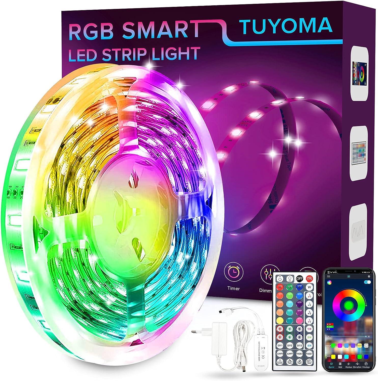 Luces Led, 7m Bluetooth Tira Led 210 Leds 5050 RGB SMD ,Luz led colores flexible, Sincronizar con ritmo musical, Para Habitación/Cocina/Bar /Boda/Navidad, Fiesta/TV /Armario/Techo Decoracion