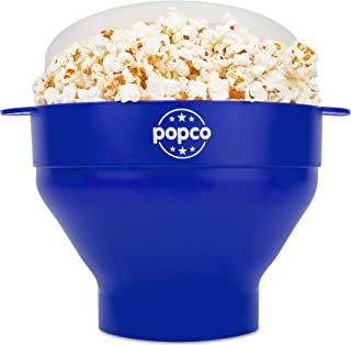 The Original Popco Silicone Microwave Popcorn Popper with Handles, Silicone Popcorn Maker, Collapsible Bowl Bpa Free and Dishwasher Safe - 10 Colors Available (Blue)