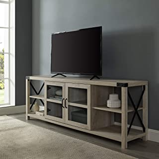 """Walker Edison Furniture Company Rustic Modern Farmhouse Metal and Wood 80"""" Universal TV Stand for Flat Screen Living Room Storage Cabinets and Shelves Entertainment Center, 70 Inch, White Oak"""