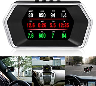 ACECAR Universal Car Dual System HUD OBD2/GPS Head Up Display Smart Digital Meter Speedometer with Compass Test Brake Test Overspeed Alarm Fault Code Reader HD LCD Display for All Vehicle
