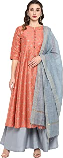 Janasya Women's Peach Poly Silk Kurta With Palazzo and Dupatta