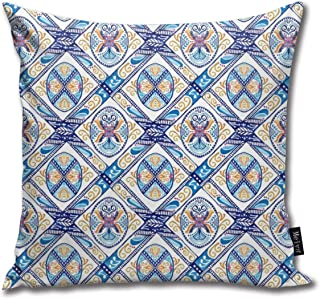 Polue-Design Colorful Floral Pysanky Throw Pillow Cases Decorative Soft Square Throw Pillow Cover Cushion Case for Sofa Bedroom Car 18 x 18 Inch