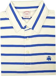 Mens Original Fit Soft Knit Cotton Three Button Polo Shirt White Blue Striped