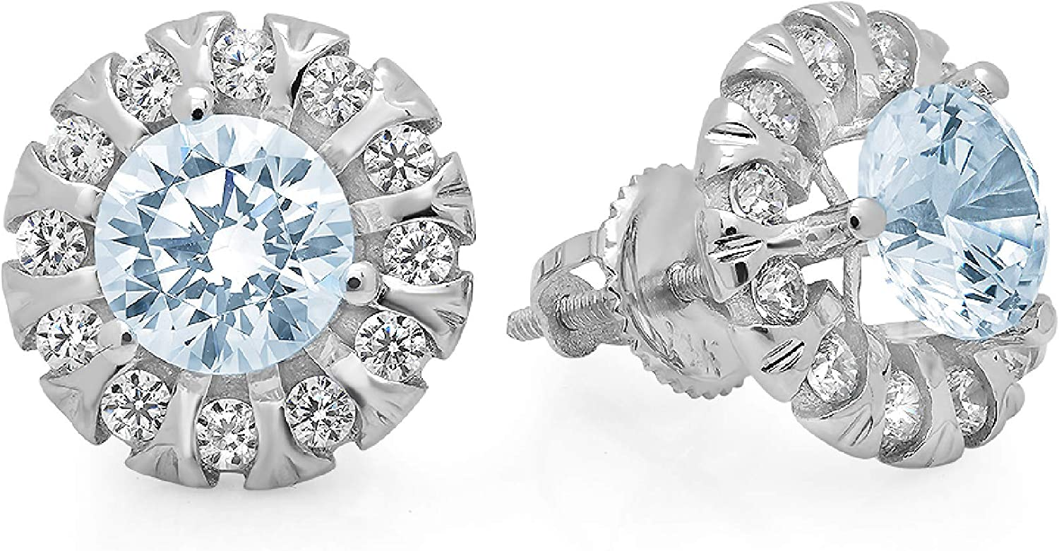 Clara Pucci 1.12 ct Brilliant Round Cut Halo Solitaire VVS1 Flawless Blue Simulated Diamond Gemstone Pair of Solitaire Stud Screw Back Earrings Solid 18K White Gold
